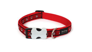 Red Dingo Pawprints Red Nylon Dog Collar